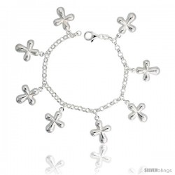 "Sterling Silver Curvy Cross Charm Bracelet, 1"" (25 mm) wide"