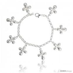 """Sterling Silver Curvy Cross Charm Bracelet, 1"""" (25 mm) wide"""