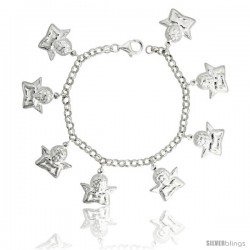 "Sterling Silver Guardian Angel Charm Bracelet, 13/16"" (21 mm) wide"
