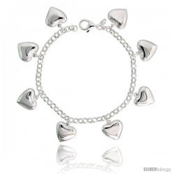 "Sterling Silver Charm Bracelet with Puffy Hearts, 5/8"" (16 mm) wide"