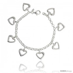 "Sterling Silver Charm Bracelet with Cut-Out Hearts, 11/16"" (18 mm) wide"