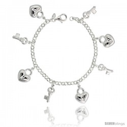 "Sterling Silver Key to My Heart Charm Bracelet, 3/4"" (20 mm) wide"