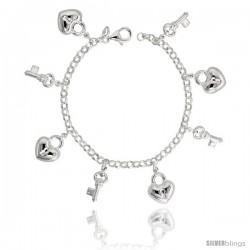 """Sterling Silver Key to My Heart Charm Bracelet, 3/4"""" (20 mm) wide"""
