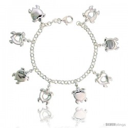 "Sterling Silver Heart-shaped Turtle Charm Bracelet, 7/8"" (22 mm) wide"