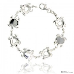 "Sterling Silver Heart-shaped Turtle Link Bracelet, 1/2"" (13 mm) wide"