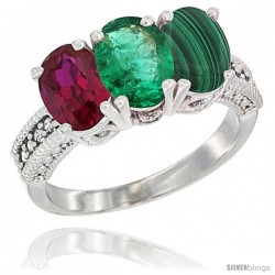 10K White Gold Natural Ruby, Emerald & Malachite Ring 3-Stone Oval 7x5 mm Diamond Accent
