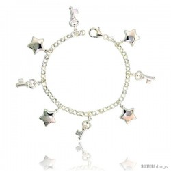 "Sterling Silver Keys & Puffy Stars Charm Bracelet, 7/8"" (22 mm) wide"