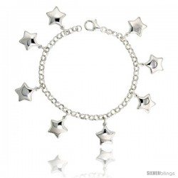 "Sterling Silver Charm Bracelet w/ Puffy Stars, 11/16"" (17 mm) wide"