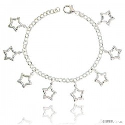 "Sterling Silver Charm Bracelet w/ Puffy Stars Cut-Outs, 11/16"" (17 mm) wide"