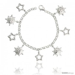 "Sterling Silver Charm Bracelet w/ Puffy Stars Cut-Outs & Sun Pendants, 7/8"" (23 mm) wide"