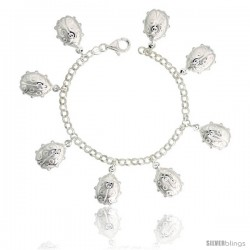 "Sterling Silver Lady Bug Charm Bracelet, 7/8"" (23 mm) wide"