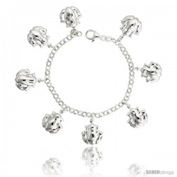 "Sterling Silver Frog Charm Bracelet, 7/8"" (23 mm) wide"