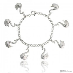"Sterling Silver Swan Charm Bracelet, 1"" (25 mm) wide"