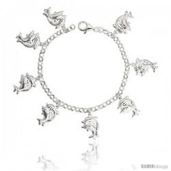 "Sterling Silver Double Dolphin Charm Bracelet, 7/8"" (22 mm) wide"
