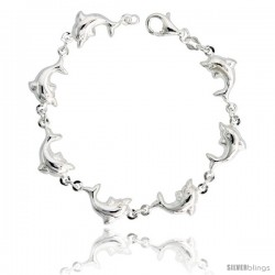 "Sterling Silver Dolphin Link Bracelet, 7/16"" (11 mm) wide"