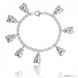 "Sterling Silver Teddy Bear Charm Bracelet, 3/4"" (19 mm) wide"