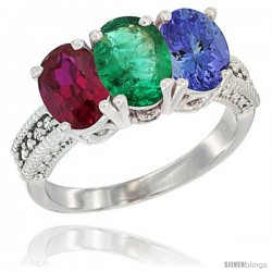 10K White Gold Natural Ruby, Emerald & Tanzanite Ring 3-Stone Oval 7x5 mm Diamond Accent