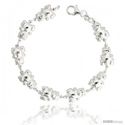 "Sterling Silver Teddy Bear Link Bracelet, 3/8"" (10 mm) wide"