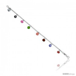 "Sterling Silver Italian Rolo Link Bracelet, w/ White, Pink, Green, Red, Blue, Black & Orange Murano Glass Beads, 1/4"" (6 mm)"