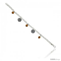 "Sterling Silver Italian Oval Link Bracelet, w/ Gold-colored Murano Glass Beads & Disc Pendants, 9/16"" (14 mm) wide"