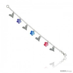 "Sterling Silver Italian Charm Bracelet, w/ Hearts & Swarovski Crystal Flower Pendants, 5/8"" (16 mm) wide"