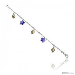 """Sterling Silver Italian Charm Bracelet w/ Swarovski Crystals & Pearls Flower Pendants, 3/4"""" (19 mm) wide"""