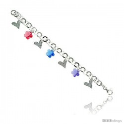 "Sterling Silver Italian Charm Bracelet, w/ Hearts & Swarovski Crystal Flower Pendants, 3/4"" (19 mm) wide"