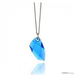 "Sterling Silver 16 in Necklace w/ Blue Topaz Color Swarovski Crystal 13/16"" (21 mm) tall"