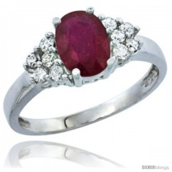 10K White Gold Natural High Quality Ruby Ring Oval 8x6 Stone Diamond Accent