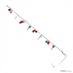 "Sterling Silver Italian Charm Bracelet, w/ Dangling Hearts, Keys and Natural Carnelian Stones, 5/8"" (16 mm) wide"