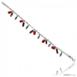 "Sterling Silver Italian Charm Bracelet, w/ Dangling Leaves and Natural Carnelian & Smoky Topaz Stones 1/2"" (13 mm) wide"