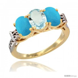 10K Yellow Gold Natural Aquamarine & Turquoise Sides Ring 3-Stone Oval 7x5 mm Diamond Accent