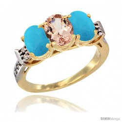 10K Yellow Gold Natural Morganite & Turquoise Sides Ring 3-Stone Oval 7x5 mm Diamond Accent