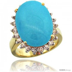 10k Yellow Gold Diamond Halo Sleeping Beauty Turquoise Ring 10 ct Large Oval Stone 18x13 mm, 7/8 in wide