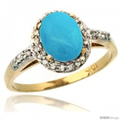 10k Yellow Gold Diamond Sleeping Beauty Turquoise Ring Oval Stone 8x6 mm 1.17 ct 3/8 in wide