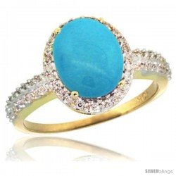 10k Yellow Gold Diamond Sleeping Beauty Turquoise Ring Oval Stone 10x8 mm 2.4 ct 1/2 in wide