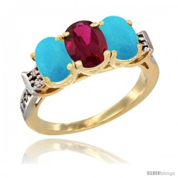 10K Yellow Gold Natural Ruby & Turquoise Sides Ring 3-Stone Oval 7x5 mm Diamond Accent