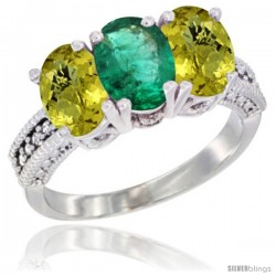10K White Gold Natural Emerald & Lemon Quartz Sides Ring 3-Stone Oval 7x5 mm Diamond Accent