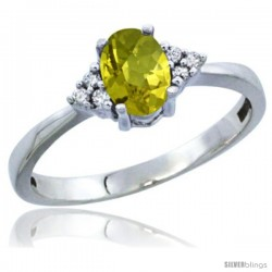 10K White Gold Natural Lemon Quartz Ring Oval 6x4 Stone Diamond Accent
