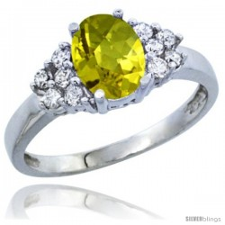 10K White Gold Natural Lemon Quartz Ring Oval 8x6 Stone Diamond Accent