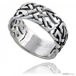 Sterling Silver Celtic Knot Wedding Band / Thumb Ring, 3/8 in wide