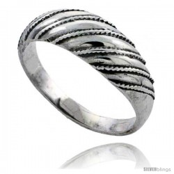 Sterling Silver Striped Dome Ring 5/16 in wide