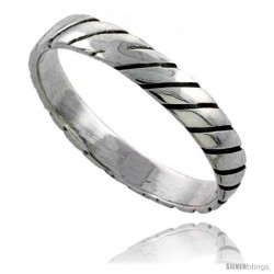 Sterling Silver Striped Wedding Band / Thumb Ring 3/16 in wide