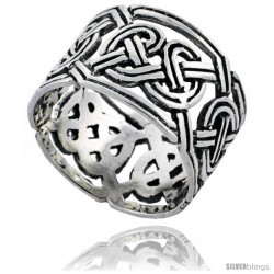 Sterling Silver Celtic Knot Wedding Band / Thumb Ring, 1/2 in wide