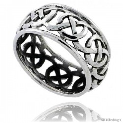 Sterling Silver Celtic Knot Wedding Band / Thumb Ring, 3/8 in wide -Style Tr482