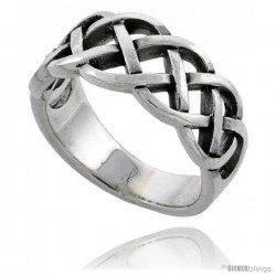 Sterling Silver Celtic Knot Wedding Band / Thumb Ring 3/8 in wide -Style Tr483