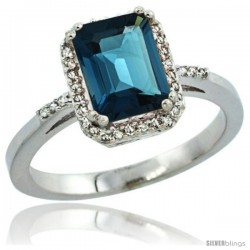 Sterling Silver Diamond Natural London Blue Topaz Ring 1.6 ct Emerald Shape 8x6 mm, 1/2 in wide -Style Cwg05129