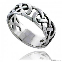 Sterling Silver Celtic Knot Wedding Band / Thumb Ring 3/8 in wide -Style Tr484