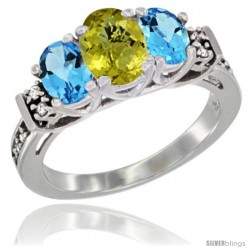 14K White Gold Natural Lemon Quartz & Swiss Blue Topaz Ring 3-Stone Oval with Diamond Accent