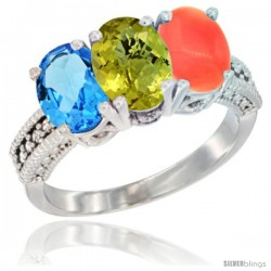 14K White Gold Natural Swiss Blue Topaz, Lemon Quartz & Coral Ring 3-Stone 7x5 mm Oval Diamond Accent